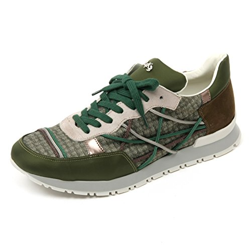 L4K3 B9304 Sneaker Uomo MR Big Scarpa quadretto Verde/Marrone Shoe Man [42]