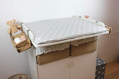 miRio • Funda para cambiador de bebé, algodón 100% (85 x 75 cm, gris con estrellas) funda cambiador Oeko-Tex Standard para decoración en la habitación de los niños