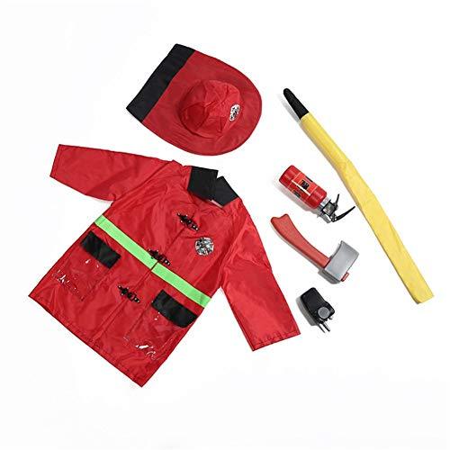 Proumhang Disfraz de Cosplay de Juguete para niños de 7 Piezas con Sombrero de Fuego, Tubo de Agua, Herramienta de extintor de Incendios, Hacha, walkie Talkie, Insignia (Durante 3-6 años)