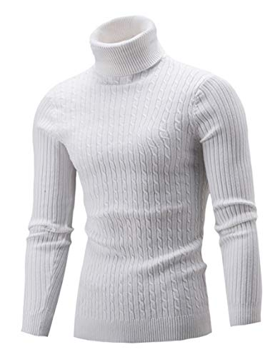 AIDEAONE Männer Rollkragen Turtleneck Strickpullover Stehkragen Pullover Sweater Slim Fit Basic Feinstrick Rollkragenpullover Weiß