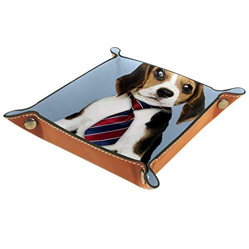 Caja de almacenamiento pequeña, bandeja de valet para hombre,cachorro beagle con corbata ,Organizador de cuero para llaves de caja de monedas