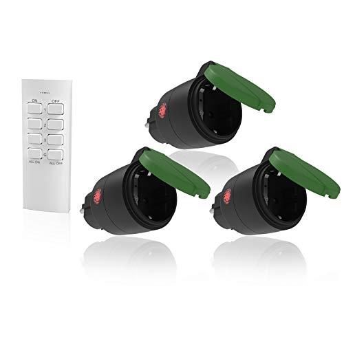Lunvon 3 x Funksteckdosen mit Fernbedienung Aussen, Funkschalter Set für den Außenbereich, Wasserdicht IP44, 2300 Watt, Schaltbare Steckdose Outdoor mit Reichweite 70 m für Haushaltsgeräte