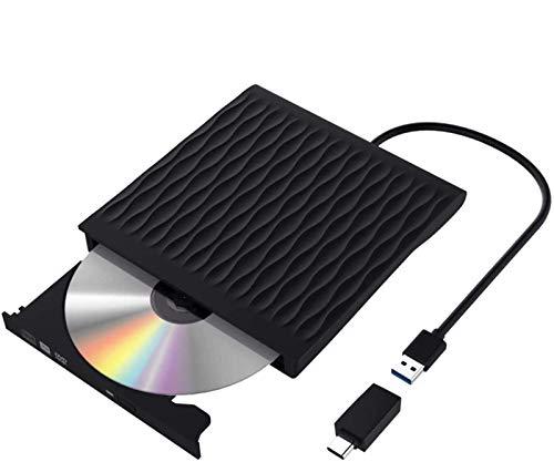 Externes CD DVD Laufwerk, USB 3.0 mit Type-C Portable DVD/CD Brenner,Plug&Play,schnelle Datenübertragung Optisches USB Laufwerk mit Beutel, Kompatibel mit WIN98 / XP / WIN7 / 8/10 / XP/Vista/Mac OS
