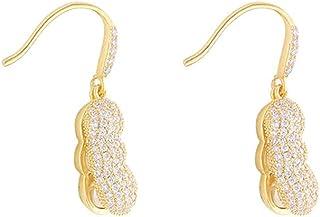 Crystal Peanut Dangle Earrings for Women Girls 18K Gold Plated Sparkling Cubic Zirconia Rhinestone Dangling Pearl Drop Hoo...