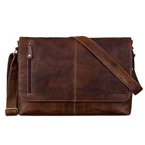STILORD 'Hamilton' 15 Zoll Messenger Bag Leder Laptoptasche Aktentasche Vintage Umhängetasche Schultertasche Büchertasche Echtleder, Farbe:Mocca - Dunkelbraun