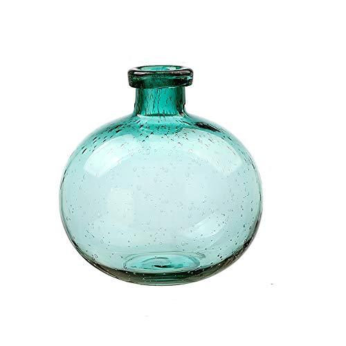 LINDU Jarrón de Burbujas de Color Cristal esférico Transparente florero decoración de Cristal, Azul, L