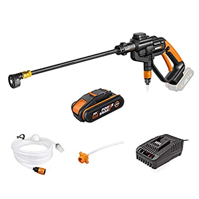 WORX 20V Cordless HYDROSHOT Portable High Pressure Cleaner WG620E.6 with 2.0 Ah Battery, PowerShare, 120 L/H Cleaning Gun with 6m Hoses by Positec