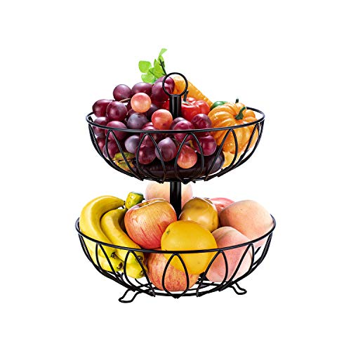 Fruit Stand Vegetables Basket Counter Top Fruit Basket Bowl Storage for Kitchen Home Metal Cast Iron (2 Tier-Black)