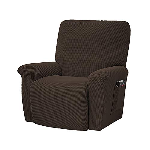 GEBIN Jacquard Sesselbezug, Sesselschoner, Stretchhusse Für Relaxsessel Komplett, Elastisch Bezug Für Fernsehsessel Liege Sessel (Chocolate)