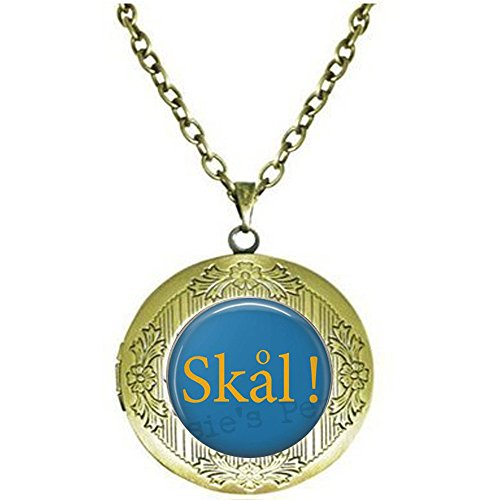 bab SKÅL - Collar sueco - Regalo para amantes de la cerveza - Colgante de cerveza - Collar de cerveza - Joyería de cerveza - Tapón de botella sueco - Collar con medallón sueco