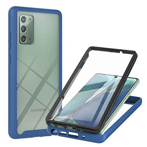 TTNAO Kompatibel mit Samsung Galaxy Note 20 Hülle,Durchsichtig Stoßfeste Schlank Handyhülle 360 Rundumschutz Prämie PET Vordere Gehärtete Membran Case Kratzfest Cover,Blau