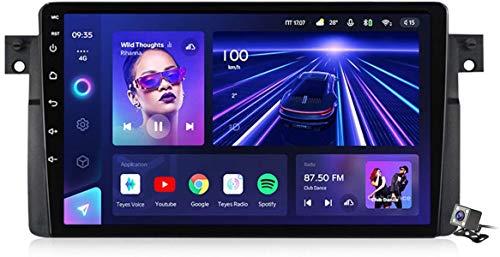 Android 10 MP5 Player GPS Navegación para BMW 3-Series E46 1998-2006, Soporte WiFi 5G DSP/FM RDS Radio de Coche Estéreo/BT Hands-Free Calls/Control del Volante/Carplay Android Auto