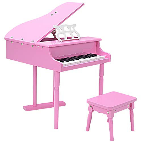 COSTWAY 30 Tasten Kinderklavier, Standkeyboard aus Holz, Kinderpiano, Mini-Piano, Kinder Keyboard Musikspielzeug, Musikinstrument für Kleinkind und Kinder, inkl. Notenpult und Sitzbank (rosa)