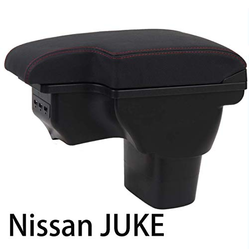 HRCHCG Center Consoles Armrest for Nissan Juke 2011-2019 Double Layer Storage Box with 3 USB Port Red Stitching