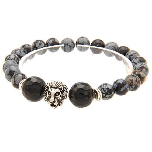 Bonbolaba Männer Frauen Anti-Müdigkeit Mal Lion Heads-Armband Labradorit-Kugel-Korn Buddha Lava-Stein-Armband Set Schmuck