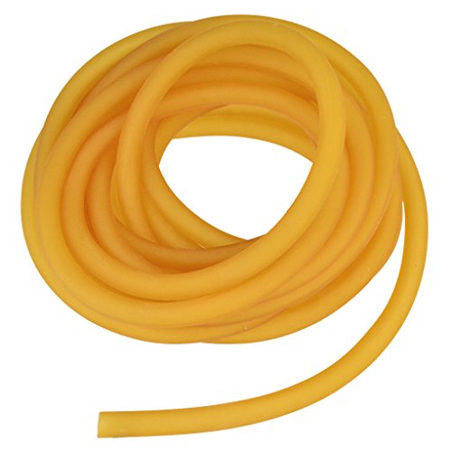 Nydotd Natural Latex Rubber Band, 16.4ft / 5m, 6x9mm Rubber Tube Tubing for Slingshot Catapult Elastic Parts Rocket Outdoor Hunting, Yellow