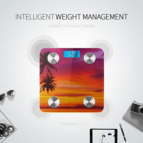 JXCSGBD Sunset Silhouette Coconut Sea Bodyfat Scale Best Weight Scale Weighing Scales Tracks 8 Key Compositions Analyzer Sync with Fitness Apps 400 Lbs