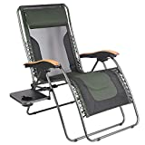 PORTAL Oversized Mesh Back Zero Gravity Recliner Chair, XL Padded Seat Adjustable Patio Lounge Chair with Lumbar Support Pillow and Side Table Support 350lbs (Dark Green)