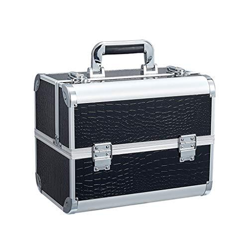 ZHAOHAOJIE Makeup Train Case Cosmetic Box,Makeup Box Cosmetics Case Jewelry Organiser Vanity Make Up Storage Box Beauty Train Case Lockable with Keys (4 Trays)