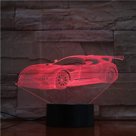 3D sportauto optische illusie lamp LED nachtlicht deco LED-lamp 7 kleuren afstandsbediening met acryl vlak & ABS basis & USB-oplader
