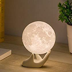 Image: Mydethun Moon Lamp Moon Light Night Light for Kids Gift for Women USB Charging and Touch Control Brightness 3d Printed Warm and Cool White Lunar Lamp