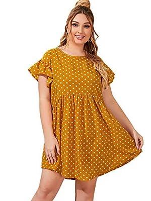 Milumia Women's Plus Size Casual Cap Sleeve High Waist Ruffle Pleated Short Dress
