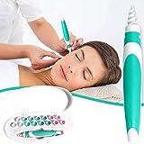HGDM Ear Wax Remover, Q Grips Ear Wax Cleaner, Kit De Limpieza De Oídos En Espiral Seguro Y Suave con 16 Piezas De Silicona Lavables, Puntas De Repuesto para Niños, Adultos,Verde