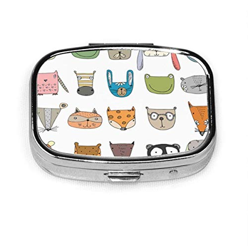 Cute Characters Funny Faces Animals Fox Tiger Zebra Bear Pill Box Decorative Boxes Pill Case Tablet Holder Wallet Organizer Case for Pocket Or Purse