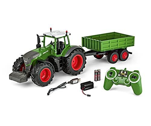 Carson- Fendt 500907314-Tractor Remolque 100% RTR, teledirigido, vehículo de construcción con Funciones de luz y Sonido, Incluye Pilas y Control Remoto, Color Verde (500907314)