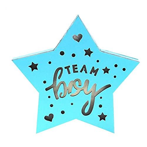 Sanfiyya Genre révéler la décoration de fête en Bois LED Suspendu équipe d'équipe Sign Signe Star Star Shape Light (Pas de Batterie)
