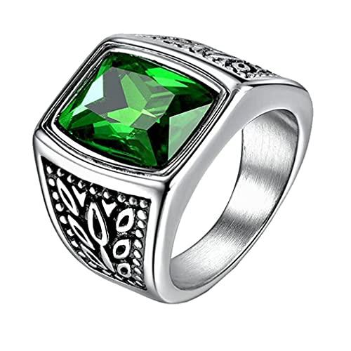 OAKKY Moda Cuadrado Piedra Preciosa Marcador Anillos Hombre Acero Inoxidable Patrón de Flores Ambos Lados Tallado Verde CZ Anillo de Boda Tamaño 32