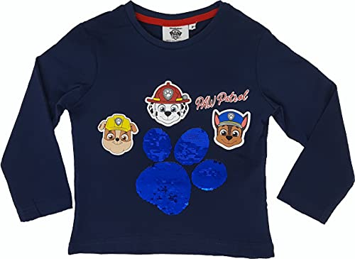 Paw Patrol - Camiseta de manga larga para niño con lentejuelas reversibles azul oscuro 110 cm