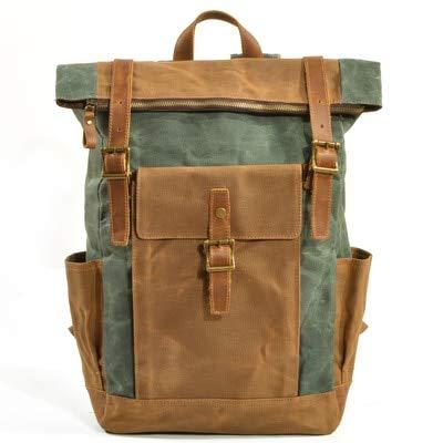 KHUGLD RucksackCanvas Laptop Rucksack Männlich College School Bookbag Männer Out Door Travel Casual Daypacks Wasserdicht See grün