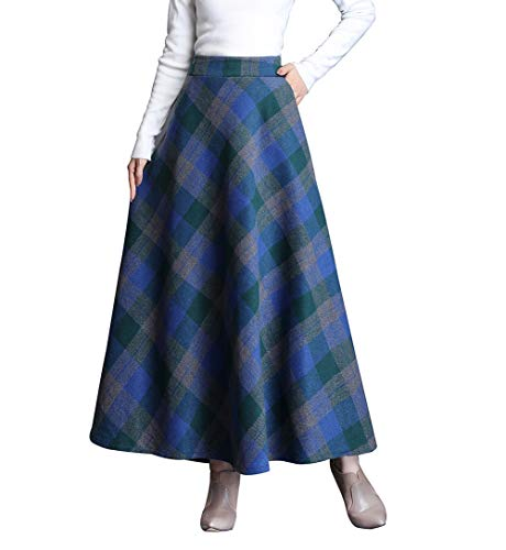 Gonne Donna Vita Alta Lunga Invernali Lana Scozzese Vintage Caldo Eleganti Pieghe Lunghe Gonna Swing (S/Vita Elasticizzata 64 CM, Plaid Blu)