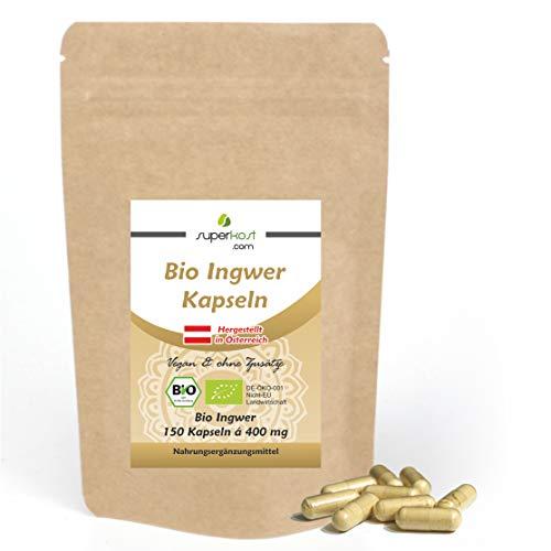 Superkost 150 Stk. BIO Ingwer Kapseln 400 mg pro Kapsel, Hochdosiert, Vegan, Frei von jeglichen Zusatzstoffe, Ohne Magnesiumstearat, 4 Monatspackung
