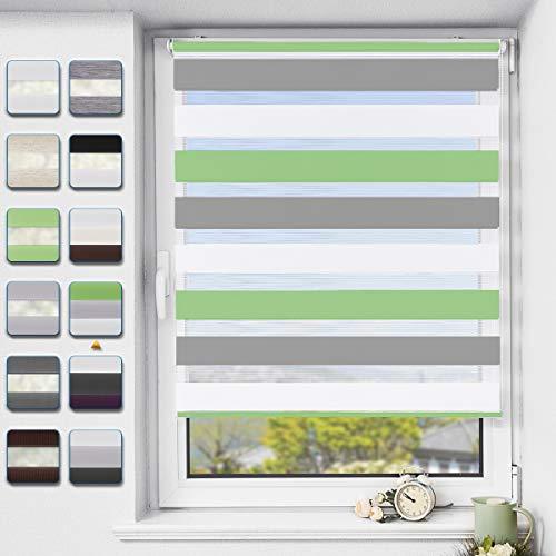 Buseu Doppelrollo klemmfix ohne Bohren Duo Rollo für Fenster,lichtdurchlässig und verdunkelnd Innenrollo Grün-grau-weiß 95x120cm(BxH)