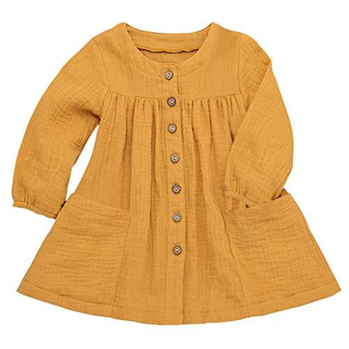 Pwtchenty Kleinkind Kleidung Mädchen Basic Fattern Kleid Rundhals Kleidung Set Dresses for Girls Langärmliges Volltonfarbe GekräUselte Rüschen Beiläufige Baby Kleidung Mädchen 0-6Y