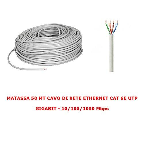 My smart shop MATASSA 50 MT Metri Cavo di Rete UTP Cat 6 LAN ETHERNET M Bobina Internet Plug ADSL Modem Router Access Point REAPETER