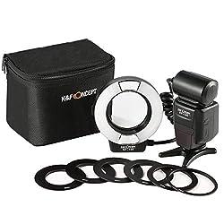 K&F Concept TTL Ringblitz Makro Blitz Ring Blitzgeräte für Canon SLR/DSLR mit AF-Hilfslicht Adapterringe Leitzahl 14