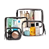 Clear Black Makeup Bags, 4pcs Cosmetic Makeup Bags Set TSA Approved Transparent Travel Toiletry Bag Waterproof Leakproof Carry On Airport Airline Cosmetic Organizer Pouch with Zipper for Women Men