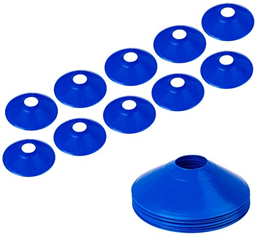 BiAnYC Pro Disc Cones,Training Cones for Agile Training/Soccer Training/Football/Kids/Field/Other Games etc. Cone Markers (10Pcs,Blue,Thickened Version 24g)