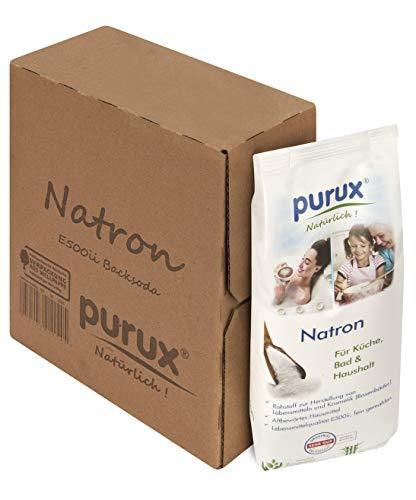 Purux Natron 1 kg Nachhaltig verpackt, auch Baking Soda, Natriumhydrogencarbonat, E 500 ii,1 kg