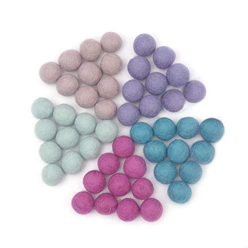 Glaciart One Wool Felt Balls, Felt Ball (50 Pieces) 2.5 cm – 1 Inch, Handmade Felted 5 Unicorn Colors (Lilac, Aqua, Light Mint, Medium Pink, Magenta) - Bulk Small Puff for Felting and Garland