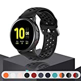 Geageaus Replacement Band for Samsung Galaxy Watch Active 2 40mm/ 44mm,20mm Silicone Quick Release Sport Strap Breathable Wristband for Galaxy Watch 42mm/Gear S2/Gear Sport (Black, 20mm)