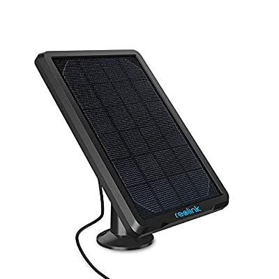 REOLINK Solar Panel Power Supply Designed for Reolink Home Security Outdoor Rechargeable Battery Powered IP Camera Argus 2/Argus Eco/Go/Argus PT, Waterproof, Reliable and Long-Stop Charging (Black)
