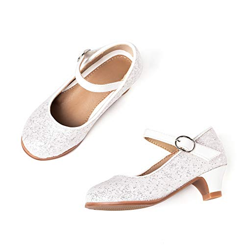 THEE BRON Toddler Little Girls Low Medium Heel Dress Flats Mary Jane Pump (9 M US Toddler, 901-White)