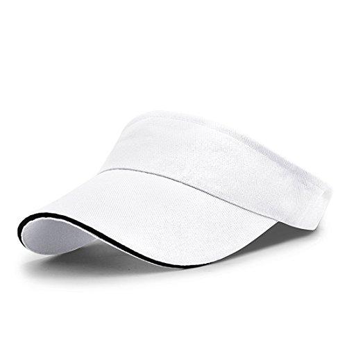LAOWWO, Sonnenblende, Schutzschild, Visier, für Tennis, Golf, Laufen, Sport, Freizeit, spendet Schatten, verstellbare Kappe für Männer und Frauen, Training Einheitsgröße weiß
