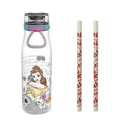 Zak Designs Disney Princess Belle, garrafa de água de plástico com botão de ação, tampa de bloqueio e alça de transporte portátil, inclui 2 canudos reutilizáveis (sem BPA)