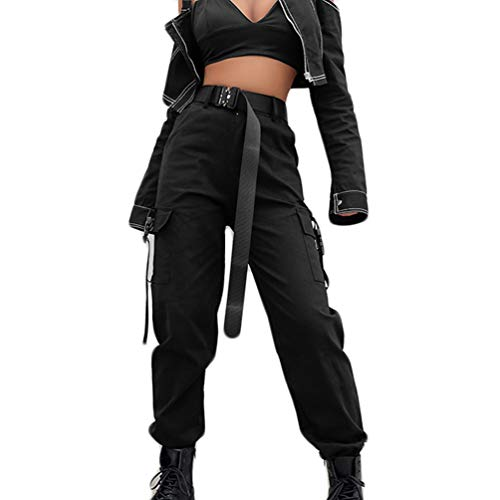 AOWEER Womens High Waisted Cargo Pants Pockets Casual Loose Combat Twill Trousers Girls # Black M
