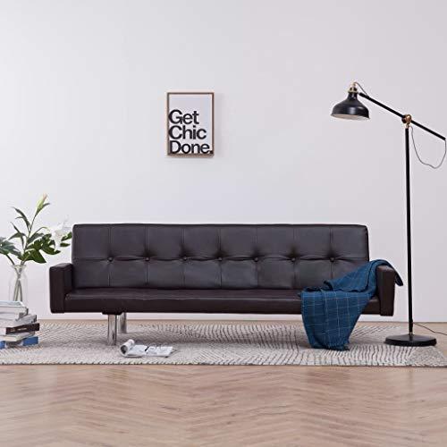 UnfadeMemory Sofa Cama de Salon con Reposabrazos,Decoración de Hogar,Diseño Moderno,Modo de Sofá con 3 Posiciones Ajustables,Estructura de Madera,Tapicería de Cuero Artificial (Marrón)
